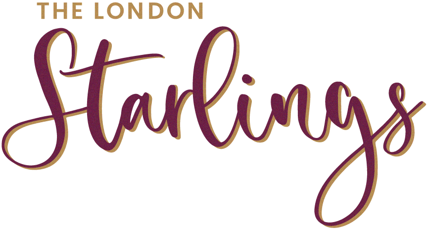 The London Starlings logo typograpy in gold and burgundy